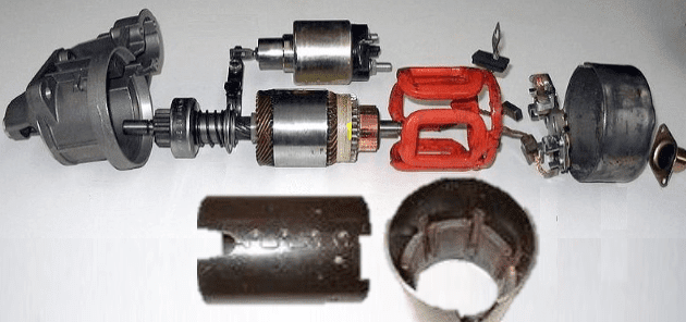 starter motor exploded view to show the different parts