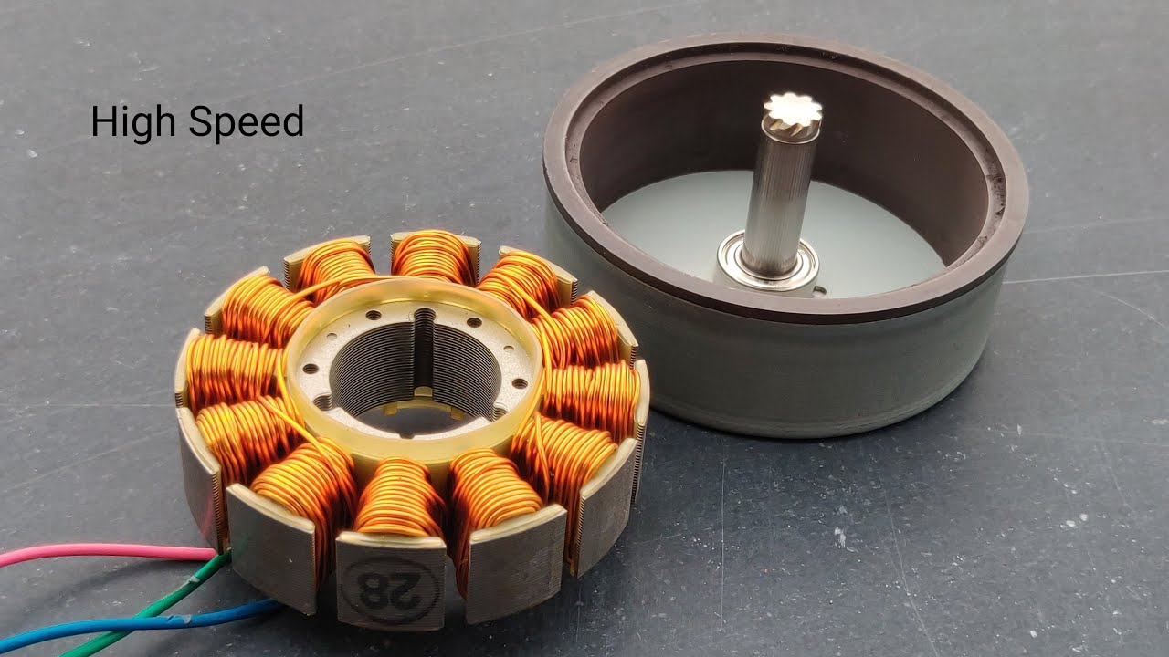 single pole BL motor with the rotor on the right