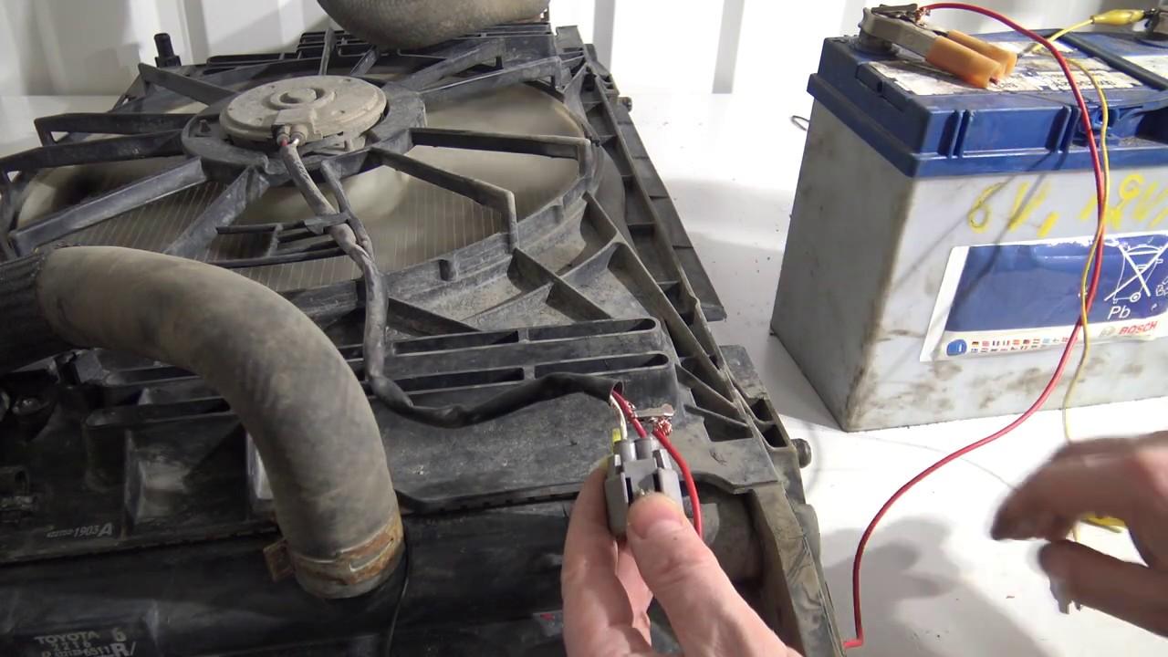 testing radiator fan using a battery
