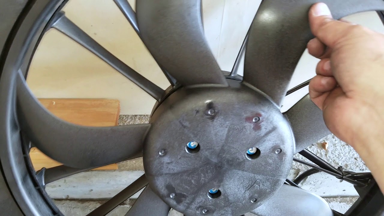 radiator fan removed for repair